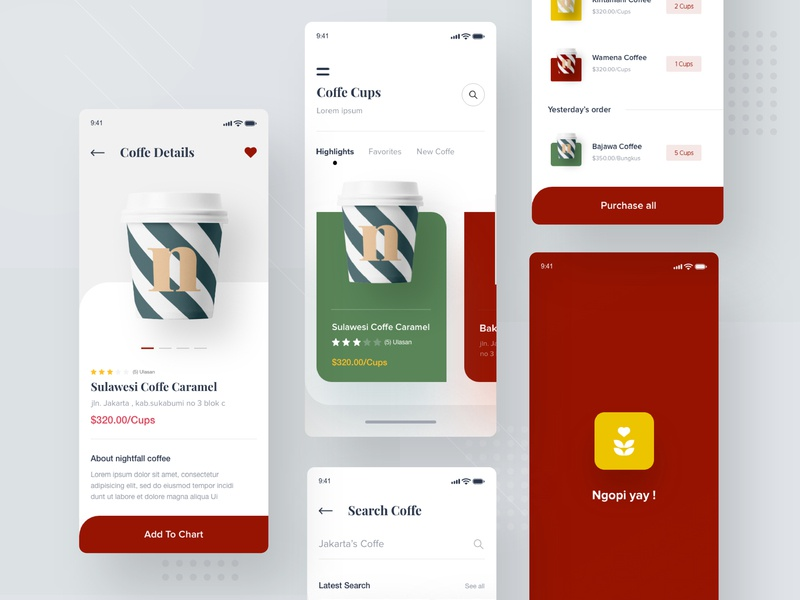 Coffee Shop app ui coffee coffee bar coffee app branding white typography illustration desktop apps landing website mobile dashboard smooth interface designer minimalist clean design