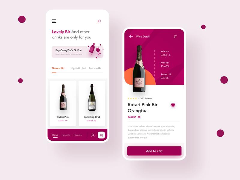 Wine Shop App dribbble mobile illustration ui apps website minimalist smooth dashboard interface beer shop data cart ios whiskey bottle clean app wine