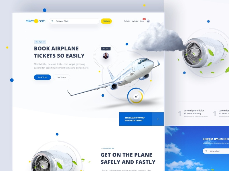 Tiket.com Flights - Exploration designs pilot yellow blue minimalist white experience design ota flight booking illustration desktop apps website dribbble mobile dashboard interface designer smooth