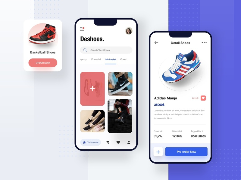 Shoes Apps - Exploration 2019 design trend black white ui uiux uidesign mobile desktop illustration apps website dribbble dashboard designer smooth design