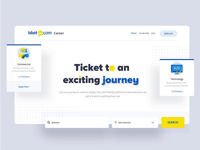 Career Site Tiket.com desktop app digital pattern development holiday travel user interface ux desktop mobile logo interface dashboard clean website designer smooth minimalist design