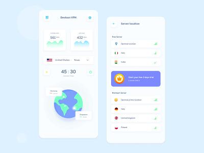 VPN Mobile App design button ios clean color ui ux