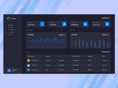 ecommerce store dashboard web app design dark mode clean button color ui ux