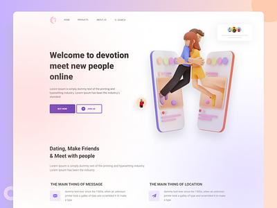 Dating app landing page dating app landing website design color clean ui ux