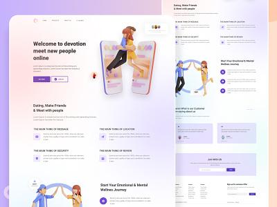 Dating app landing page datingapp landing website design color clean ui ux