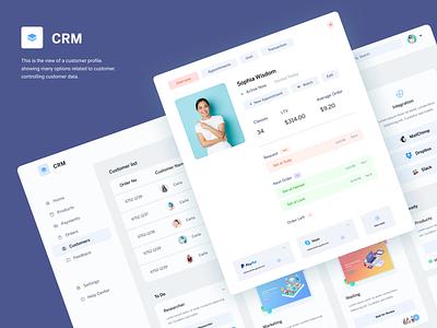 CRM - Customer Profile integration dashboard customer profile crm dashboad color clean ui ux