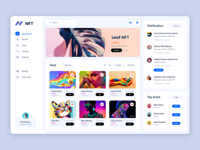 NFT website - user home page crypto graphic design art ux website cryptocurrency ui design clean application web dashboard nft