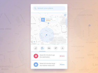 Navigation Screen best dribbble shot location mobile ios ui ux tab search navigation android app zoom review distance