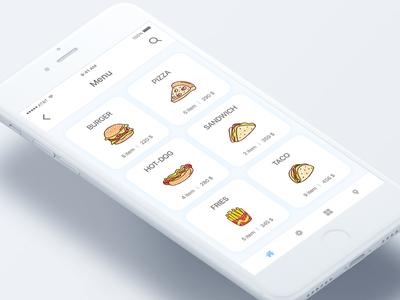 Food menu screen burger zoom map location search restaurant app order food online order food app ios