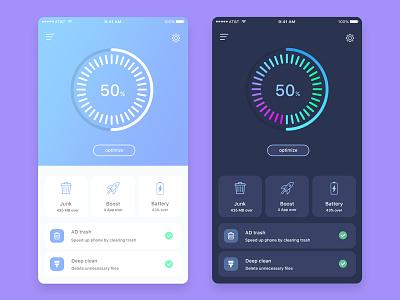 Cleaner Mobile App (Dark) best dribbble shot pie circle chart dark app design optimize junk color clean boost trash battery ux ui android ios app design