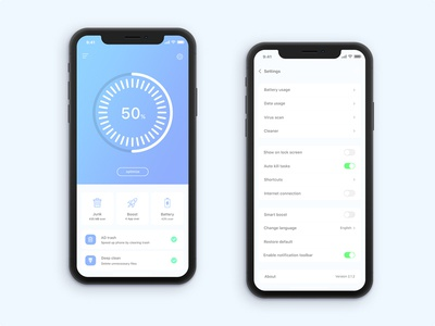 Cleaner Mobile App(iphone X) pie circle chart optimize junk color clean boost trash battery ux ui android ios app design iphone x