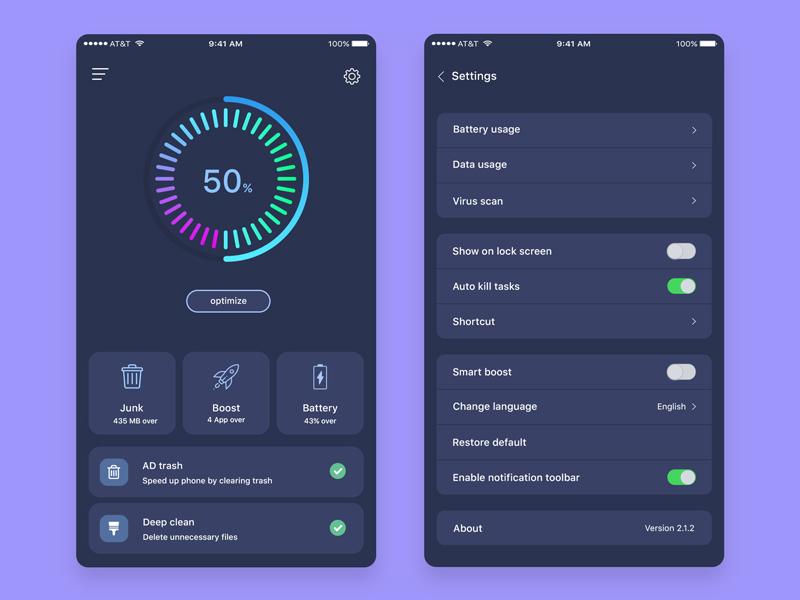 Cleaner Mobile App Dark Version by Nahid hossain on Dribbble