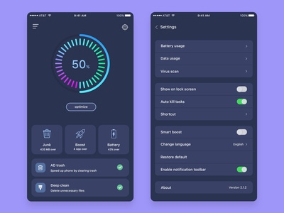 Cleaner Mobile App Dark Version best dribbble shot settings ux ui android ios app design battery trash boost clean color optimize junk dark app design pie circle chart tab matte black