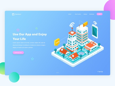 Landing Page Exploration #1 best dribbble shot perspective isometric illustration ui ux web app design landing website design