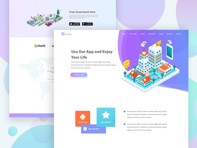 Landing Page Exploration #3 ui ux perspective isometric illustration landing website design web app design