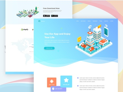 Website Exploration ui ux perspective isometric illustration landing website design web app design