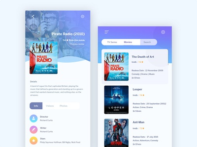 Movie App android ios app design ux ui iphone x color clean