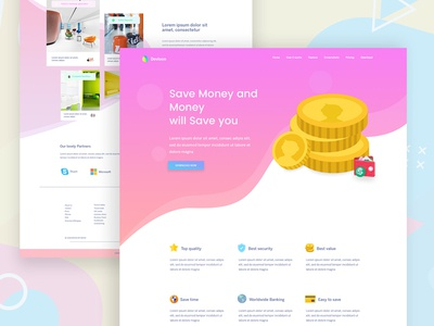Banking Website landing page web ui ux app website color style illustration