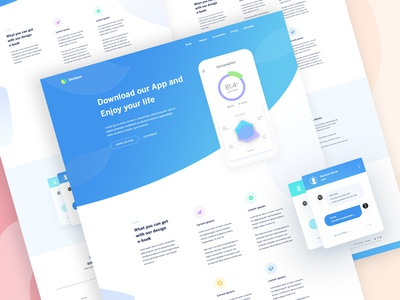 App Landing Page Exploration #15 web app landing page analytics app color ios clean ui ux