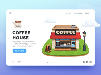 Coffee House Game UI Web vector ui store restaurant web house graphic game fun cute coffee cafe