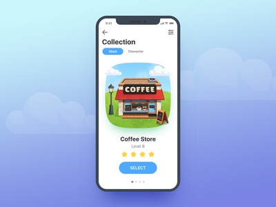 Coffee House Game UI App vector ui store restaurant mobile house graphic game fun cute coffee cafe