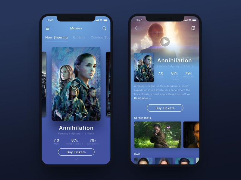 Movie App UI - Annihilation mobile ux buy iphonex ticket book film cinema annihilation ui movie app