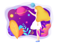 Girl picking stars