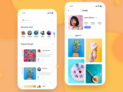 Collecting Pictures App- profile collection design card color daily app illustration ui