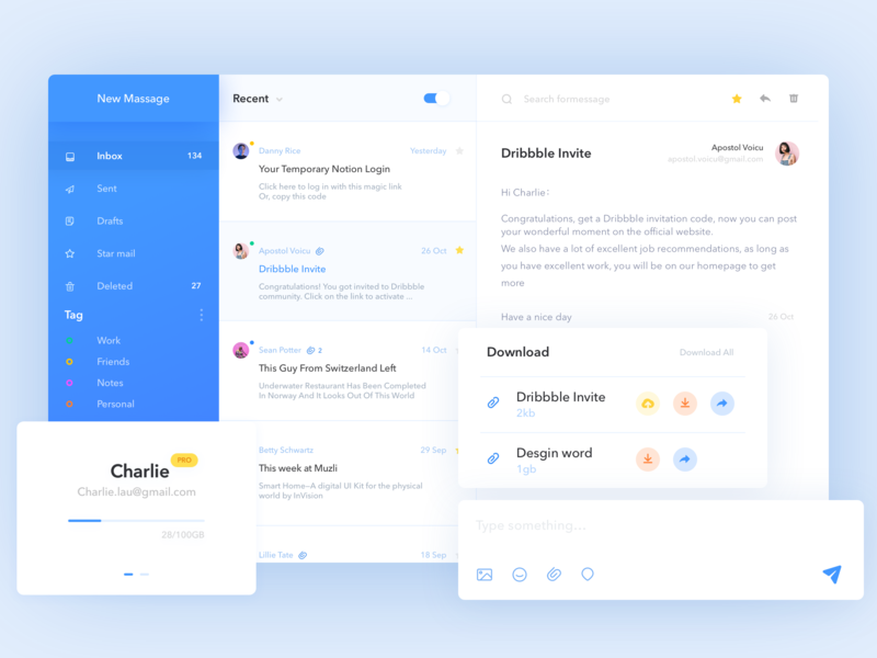Mail page design practice inbox attachment email web daily ui