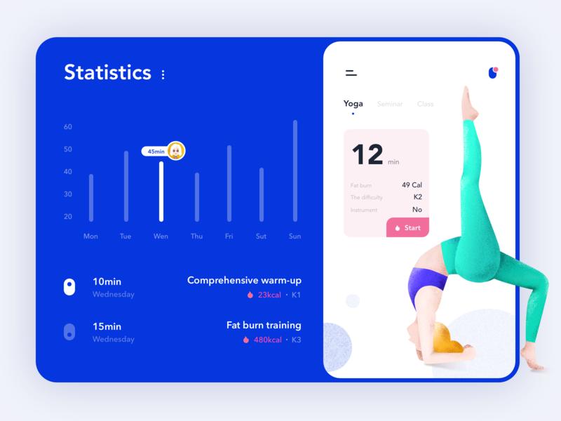 Fitness App illustration data practice design daily ui healthy fitness app