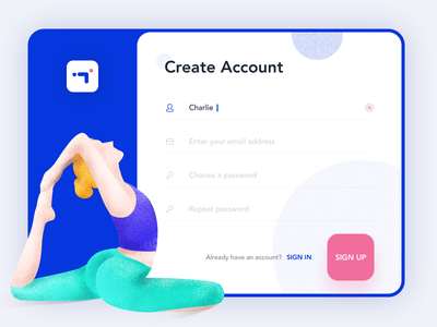 Fitness app-Create account logo practice sign up account pad login app daily ui