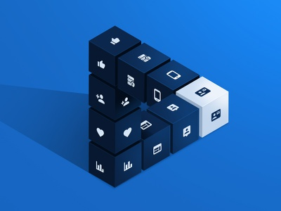 All In One Marketing Software isometric new perspective simple boxes cubic marketing web illustration software