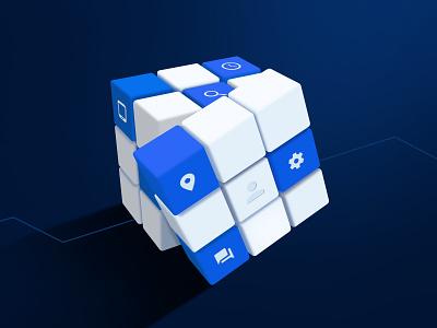 Automated Bidding rubiks cube blog web design perspective illustration