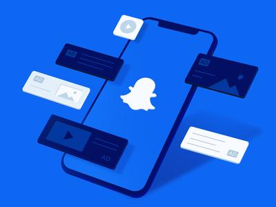 Snapchat Ads marketing illustration vector perspective mobile blog design