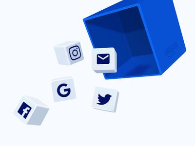 Blog Illustration Social Platforms boxes platforms web perspective design illustration