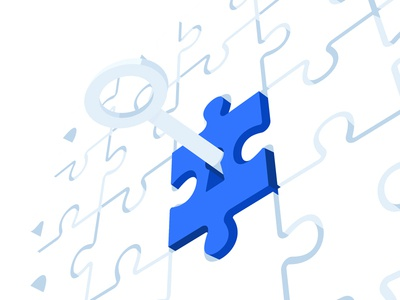 The Key to Increase Conversions web marketing puzzle key perspective blog vector ui illustration