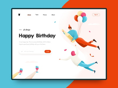 Happy Birthday creative  design ui illustrations