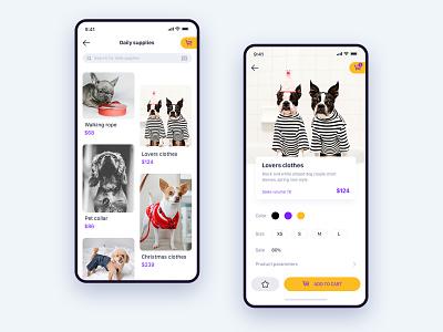 Store Details Page dog art creative  design pet shop pet care pet app uidesign app