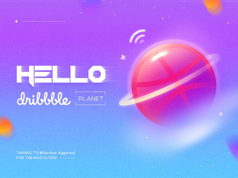 Hello Dribbble! blue purple planet