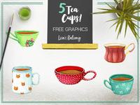 Tea Cups Illustrations - Freebie