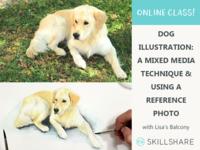 Dog Illustration: Mixed Media Technique + Reference Photo