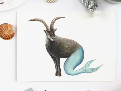 Capricorn - Astrology Illustration editorial licensing illustrator magazine astrology gouache creature animal art zodiac signs capricorn illustration