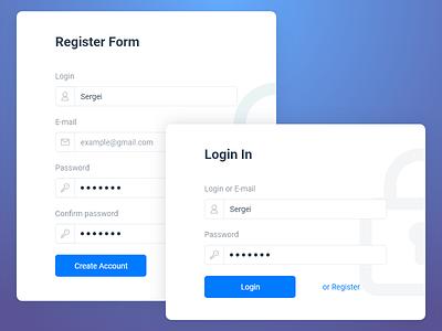 Login form account create registrationa register form login