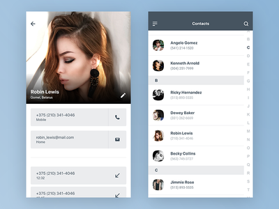 Contacts UI list android ios ux ui contacts