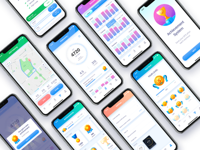 Pacer Pedometer for iOS settings statistics achievement map photoshop illustrator adobexd adobe ios counter step pedometer pacer