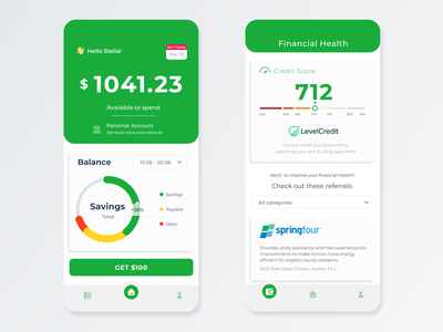 LendUp concept protoype balance app design mobile design mobile financial app ux ui