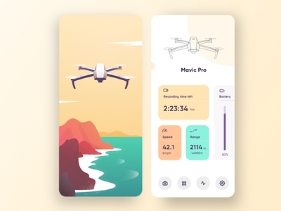 Drone app mobile app vector mavic dji colorful white nature ux ui illustration modern clean ios app drone