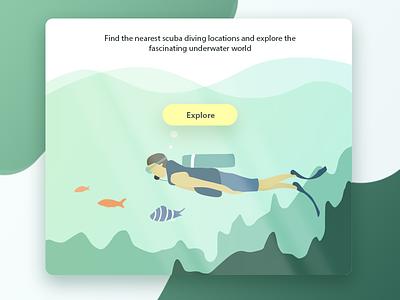 Scuba Shot landing page explore website water green illustration ux ui aqua ocean underwater scuba diving scuba diver