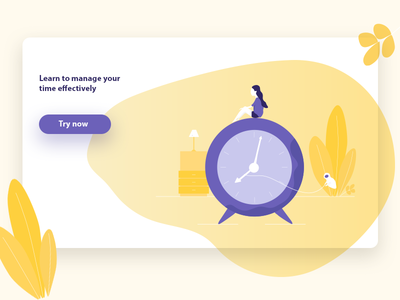 Time App design modern ux ui bright clean illustrator ai girl yellow blue management time website web app illustration