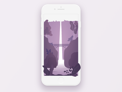 Waterfalls web peace design ui trees bridge water landscape nature waterfalls iphone wallpaper illustration app